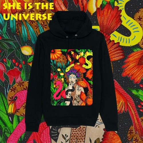 Juodas džemperis su kapišonu. 8 skirtingi dizainai