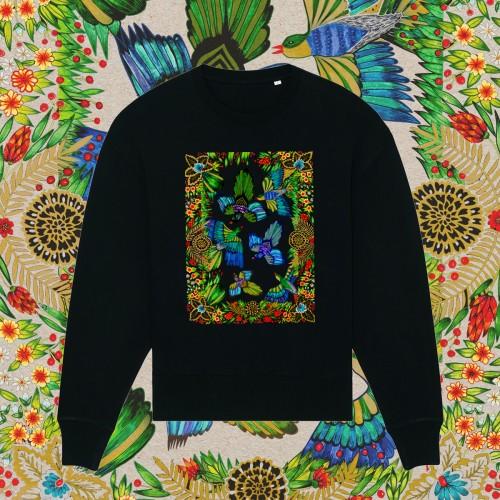 Juodas oversize stiliaus džemperis BIRDS