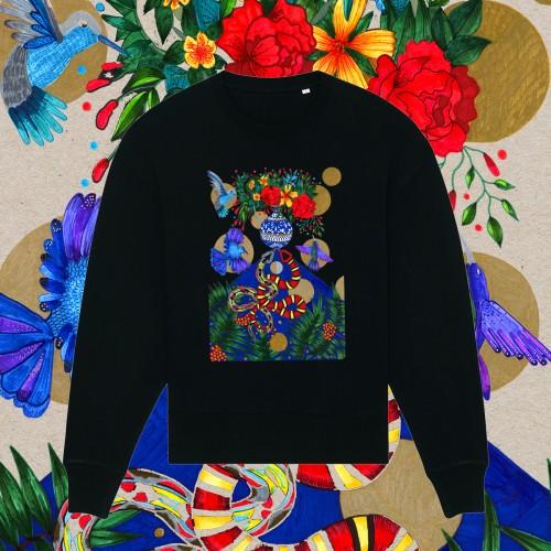 Juodas oversize stiliaus džemperis GARDEN OF EDEN
