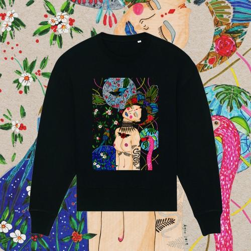 Juodas oversize stiliaus džemperis INNER WORLD