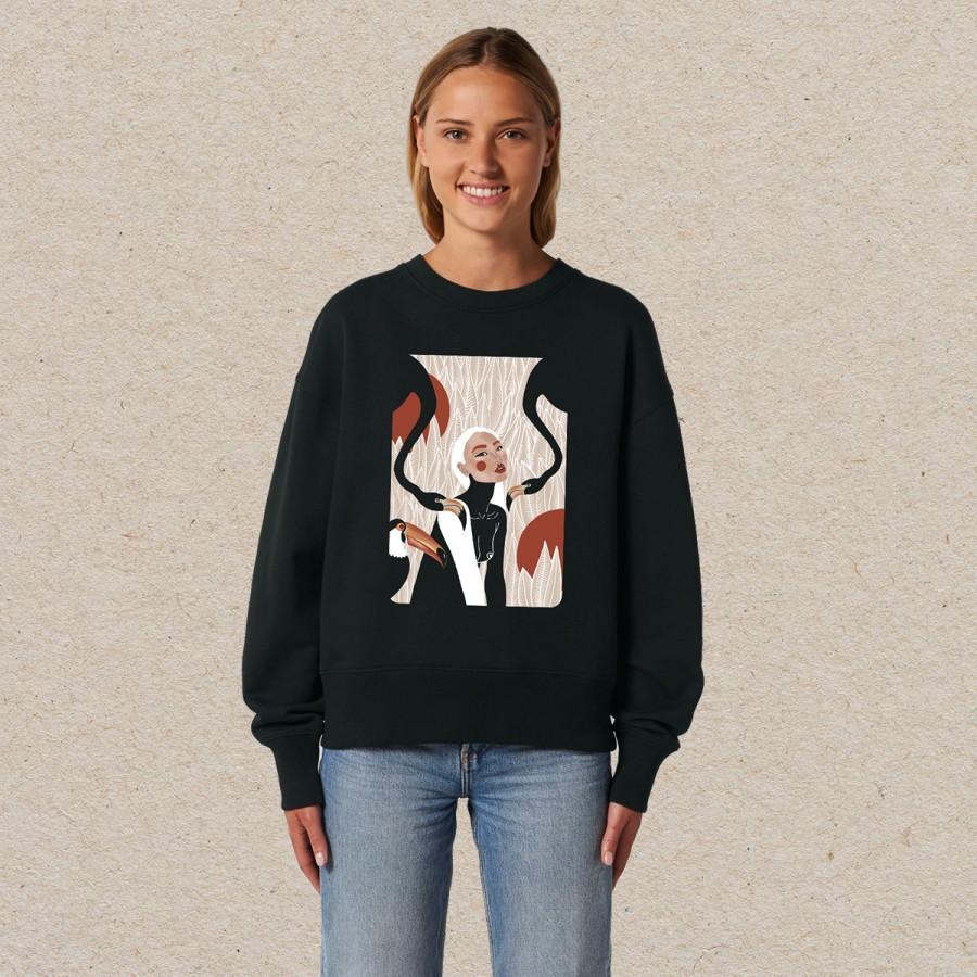 Juodas oversize stiliaus džemperis INTO THE WILD