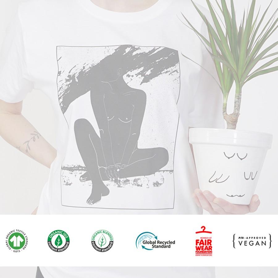 Unisex marškinėliai LAIMĖS PAUKŠTELIS (tamsiai pilki)
